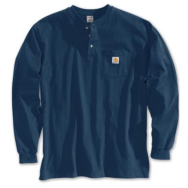 Carhartt Men's Pocket Long-Sleeve Henley Shirt, Navy