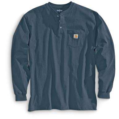 Carhartt Men's Pocket Long-Sleeve Henley Shirt, Blue Stone