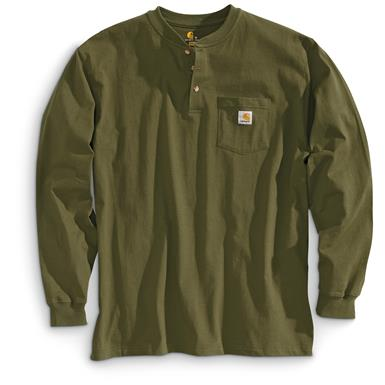Carhartt Men's Pocket Long-Sleeve Henley Shirt, Army Green