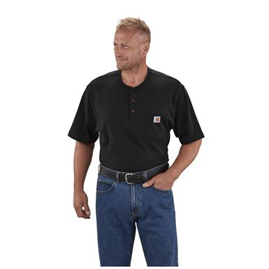 Carhartt Men's Workwear Pocket Short Sleeve Henley Shirt, Black