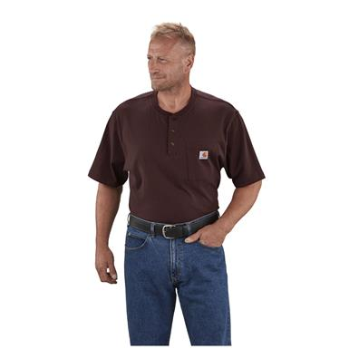 Carhartt Men's Workwear Pocket Short Sleeve Henley Shirt, Port