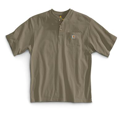 Carhartt Men's Workwear Pocket Short Sleeve Henley Shirt, Desert