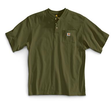 Carhartt Men's Workwear Pocket Short Sleeve Henley Shirt, Army Green
