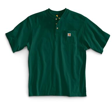 Carhartt Men's Workwear Pocket Short Sleeve Henley Shirt, Hunter Green