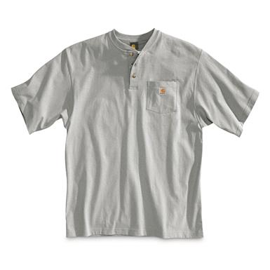 Carhartt Men's Workwear Pocket Short Sleeve Henley Shirt, Heather Gray