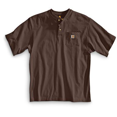 Carhartt Men's Workwear Pocket Short Sleeve Henley Shirt, Dark Brown