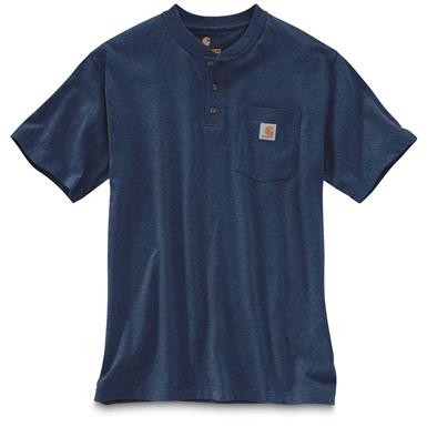 Carhartt Men's Workwear Pocket Short Sleeve Henley Shirt, Cobalt Blue