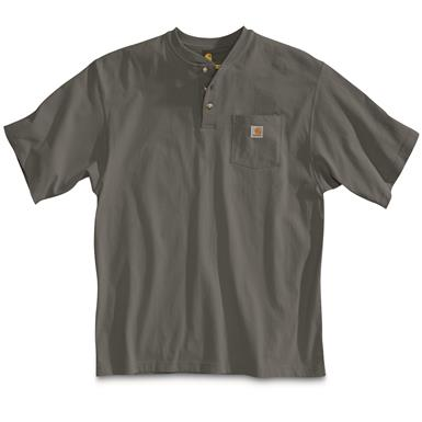 Carhartt Men's Workwear Pocket Short Sleeve Henley Shirt, Carbon Heather