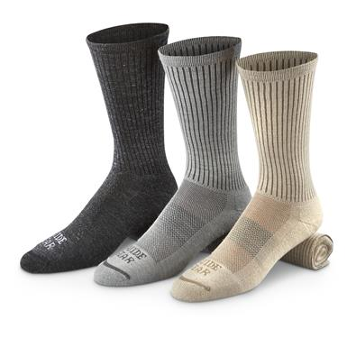Guide Gear Lifetime Lightweight Crew Socks, Black / Gray / Oatmeal