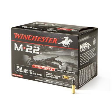 1,000 rounds Winchester M22 .22LR 40 Grain Copper-Plated Round Nose Ammo