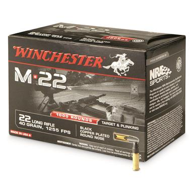 Winchester, M22, .22LR, Copper-Plated Round Nose, 40 Grain, 1,000 Rounds