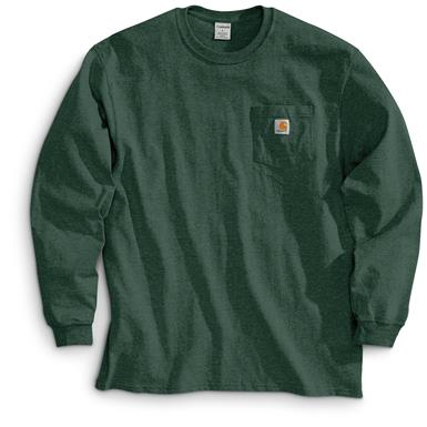 Carhartt Men's Long-sleeved Pocket T-shirt, Hunter Green