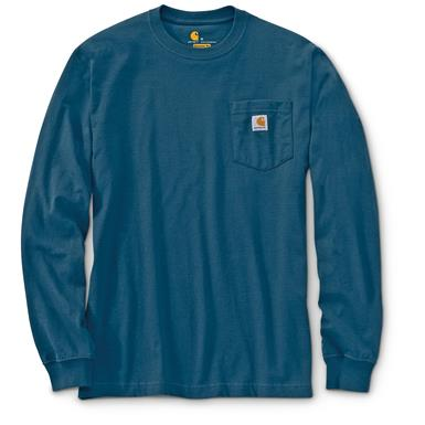Carhartt Men's Long-sleeved Pocket T-shirt, Stream Blue