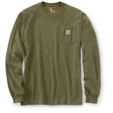 Carhartt Men's Long-sleeved Pocket T-shirt, Army Green