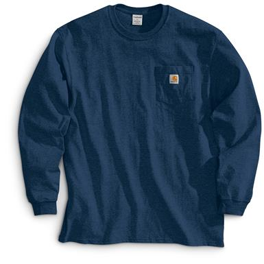 Carhartt Men's Long-sleeved Pocket T-shirt, Navy
