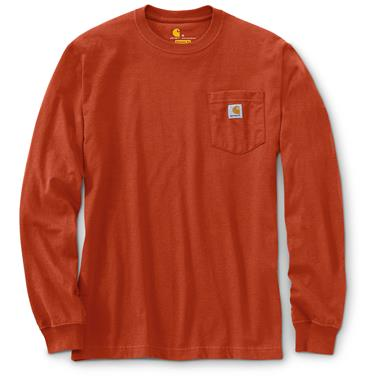 Carhartt Men's Long-sleeved Pocket T-shirt, Chili