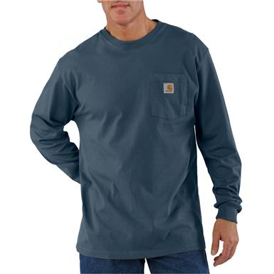 Carhartt Men's Long-sleeved Pocket T-shirt, Blue Stone