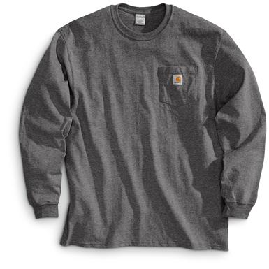 Carhartt Men's Long-sleeved Pocket T-shirt, Charcoal