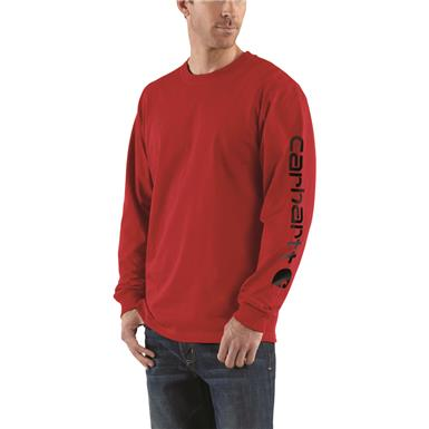 Carhartt Men's Signature Long-Sleeve Work T-Shirt, Red