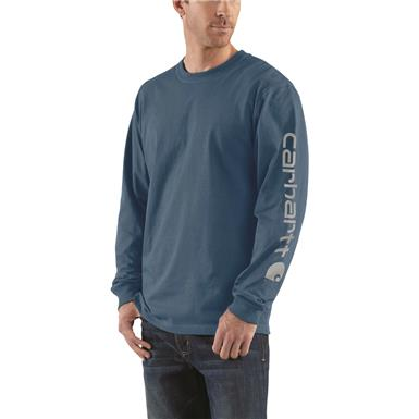 Carhartt Men's Signature Long-Sleeve Work T-Shirt, Stream Blue