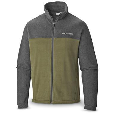 Columbia Men's Steens Mountain 2.0 Fleece Jacket, Charcoal Heather / Surplus Green