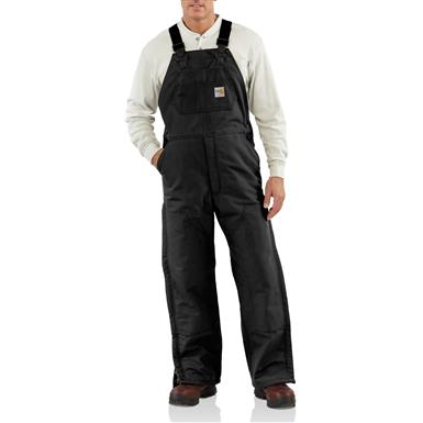 Carhartt Flame-resistant Heavyweight Quilt-lined Duck Bib Overalls, Black