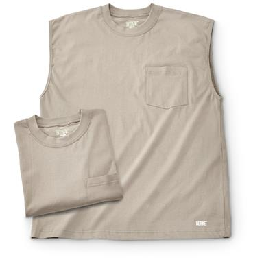 2 Berne Men's Sleeveless T-shirts, Desert Tan