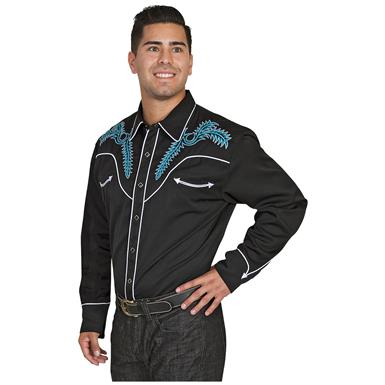 Scully Men's 685 Western Shirt, Long-sleeved, Black / Turquoise / White
