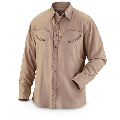Scully Men's 823 Long-Sleeve Western Shirt, Tan