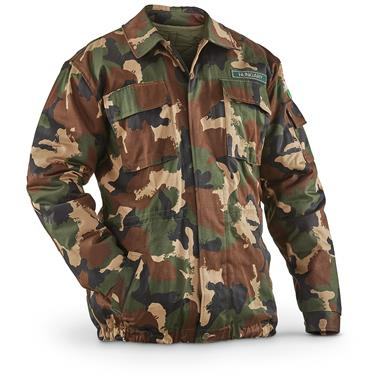Hungarian Military Surplus Camo Quilted Jacket, New