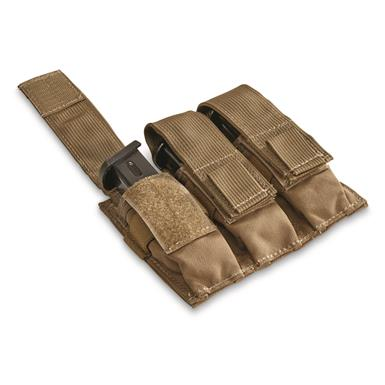 U.S. Military Surplus 9mm Triple Mag Pouch, Used