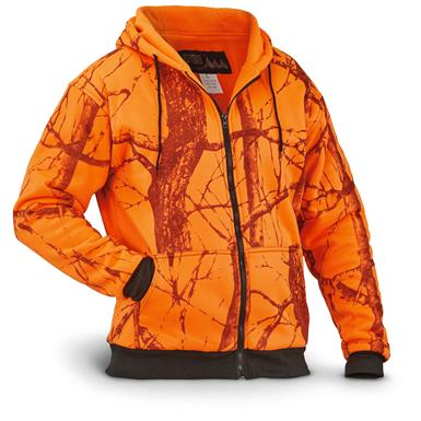 WFS Men's Thermal Lined Fleece Blaze Orange Camo Hooded Sweatshirt