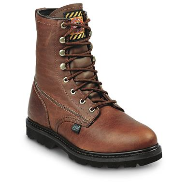 "Justin Boots Men's 8"" Premium Light Duty Lace Up Work Boots, Tan"
