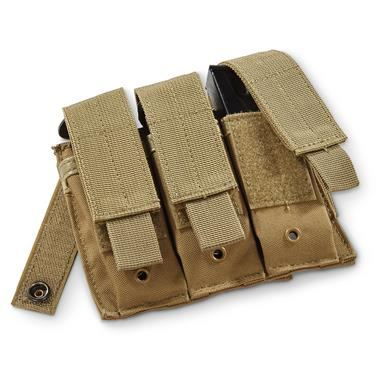 Fox Tactical Triple Pistol Magazine Pouch, 3 Magazine Capacity, Coyote Tan