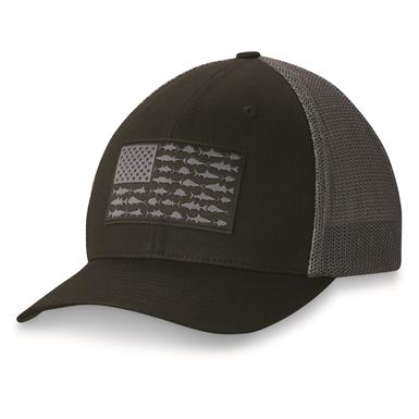 Columbia PFG Men's Mesh Ball Cap, Black Flag