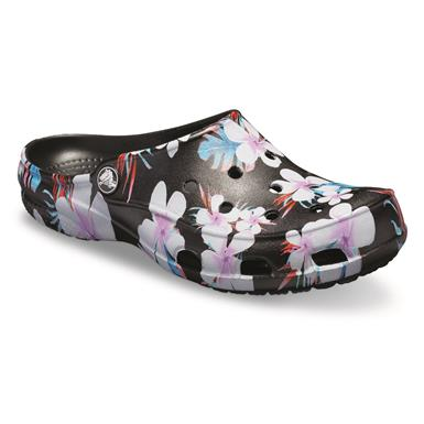 Crocs Women's Freesail Clogs, Tropical Floral/black