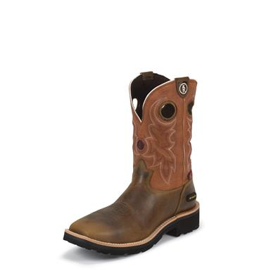 Tony Lama Tan Comanche 3R Work Boots, RR3300, Composite Toe, Waterproof, Tan Comanche