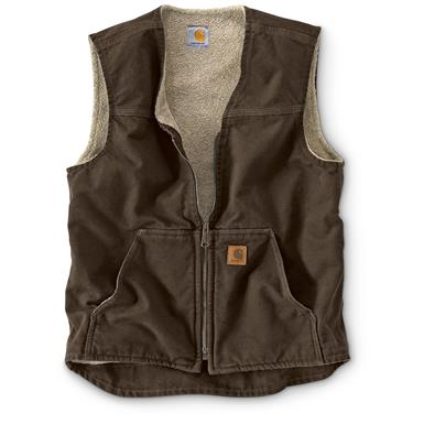 Carhartt Men's Sandstone Rugged Sherpa Lined Vest, Dark Brown, Dark Brown