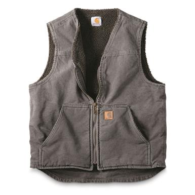 Carhartt Men's Sandstone Rugged Sherpa Lined Vest, Gravel, Gravel