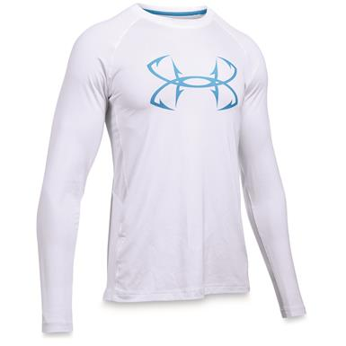 Under Armour Men's CoolSwitch Thermocline Long Sleeve T-Shirt, White / Carolina Blue
