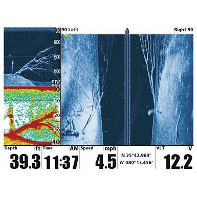 455 / 800 kHz Side / Down Imaging produces a portrait of what is underneath your boat with up to 180 degrees of coverage