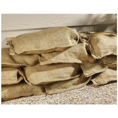 U.S. Military Surplus Burlap Sand Bags, 12 Pack, New