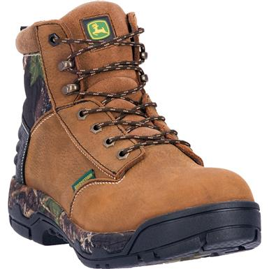 "John Deere WCT II 6"" Waterproof Aluminum Alloy Safety Toe Work Boots, Tan"