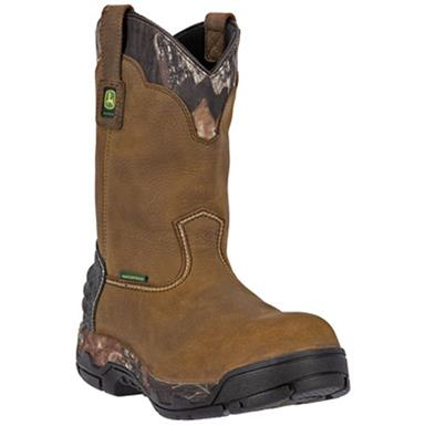 "John Deere 11"" WCT II Waterproof Aluminum Alloy Safety Toe Pull-on Work Boots, Tan"
