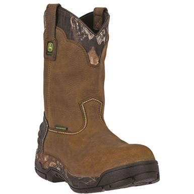 "John Deere 11"" WCT II Waterproof Pull-on Work Boots, Tan"