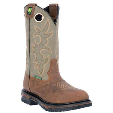"John Deere 11"" Waterproof Western Work Boots, Saddle Tan"