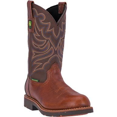 "John Deere WCT 11"" Waterproof Western Work Boots, Brown / Carmel, Brown / Carmel"