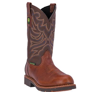 "John Deere WCT 11"" Waterproof Steel Toe Western Work Boots, Brown / Carmel, Brown / Carmel"