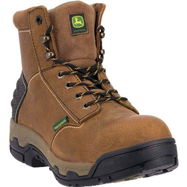 "John Deere WCT II 6"" Waterproof Aluminum Alloy Toe Puncture Proof Work Boots, Tan"