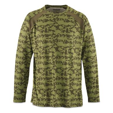 Guide Gear Men's Performance Fishing Long Sleeve Shirt, Green Hex Print